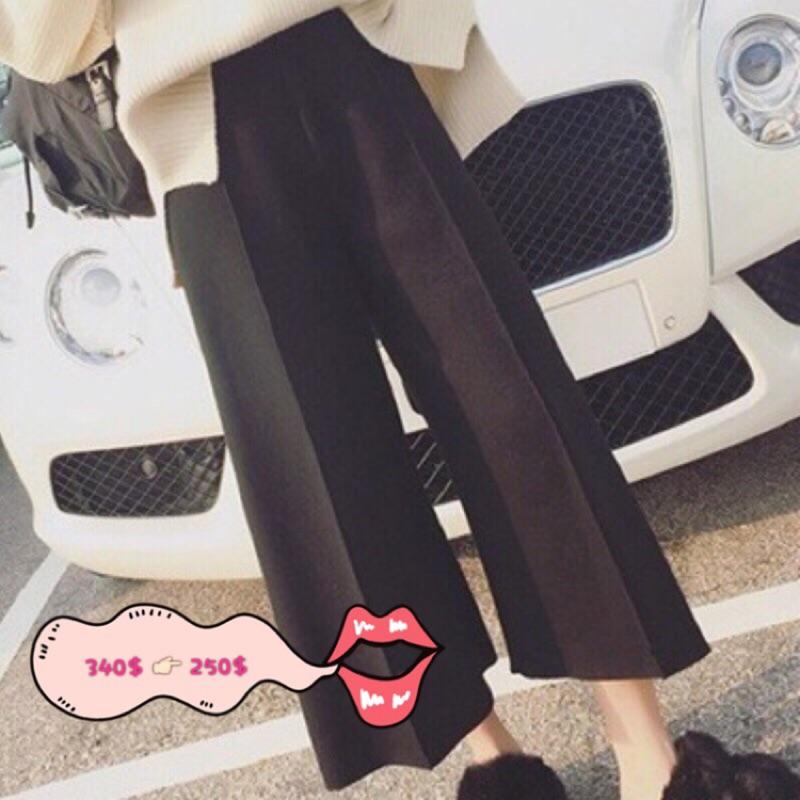 ✨Funny shop ✨街頭風高腰寬管九分褲[t160406