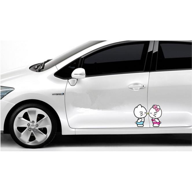 hello kitty 貼紙可愛車貼防水遮醜貼安全帽行李箱可愛貼紙摩托車貼汽車貼紙親嘴Ki