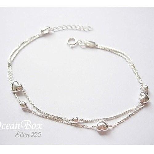 ~~海洋盒子銀飾~~精緻小愛心圓球純銀手鍊OB5614 ~925 純銀~ 銀飾