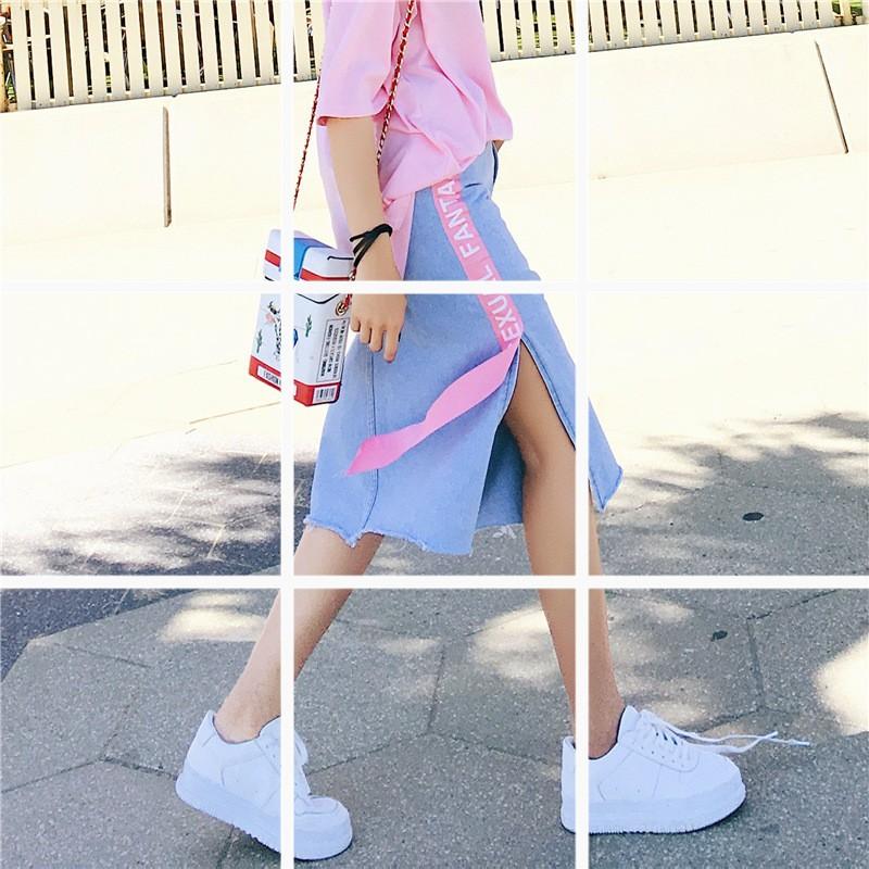 ~ ~❤實拍韓系春夏 裙子開叉高腰中長款淺藍色牛仔裙半身裙女包臀短裙