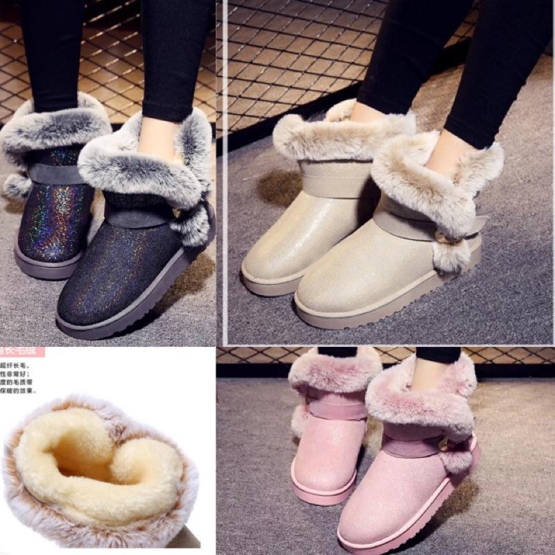 名媛毛絨流線型雪靴短靴保暖靴靴子鞋子鞋平底鞋 冬天雜誌款
