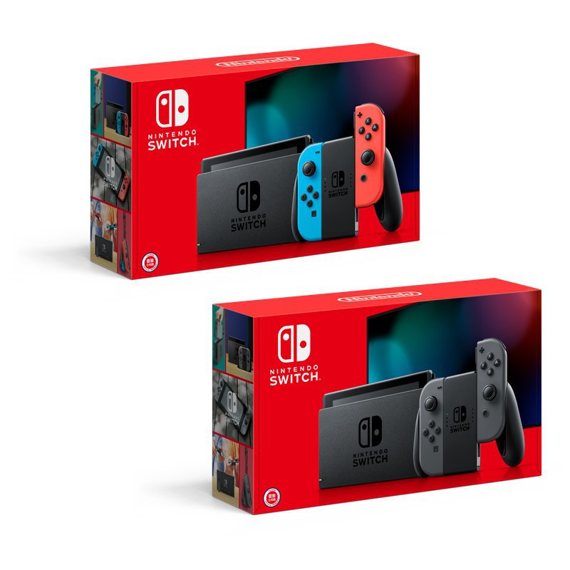 Nintendo Switch 主機 電池續航力加長 新款 新型號 Switch主機 灰色/電光紅藍色【台中星光電玩】