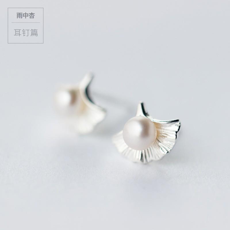 Vena s Dress 925 純銀氣質銀杏葉天然淡水珍珠甜美耳釘
