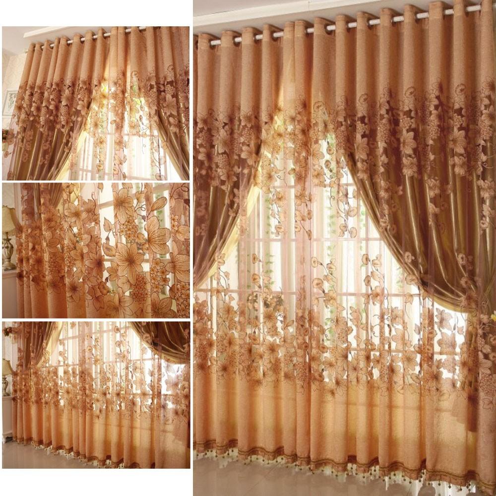 華麗歐式牽牛花窗簾單層遮光窗簾窗紗落地窗簾多色