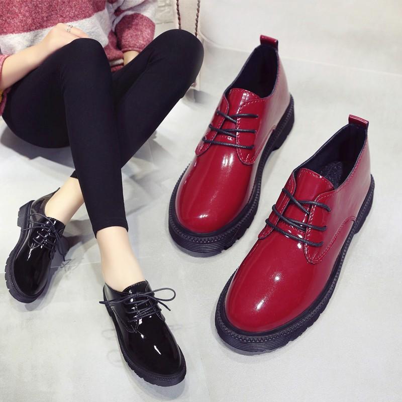 英倫漆皮女單鞋平底小皮鞋女系帶粗跟復古牛津鞋學院黑色低跟女鞋