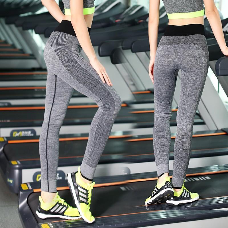 A101 瑜伽健身長褲女彈力緊身 健身房速干透氣條紋褲子