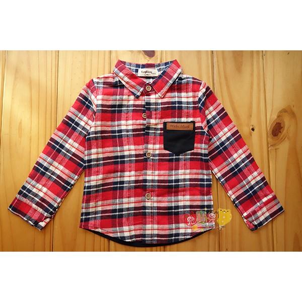1642 紅色格紋襯衫潮流拼接前口袋5 15 號中小童