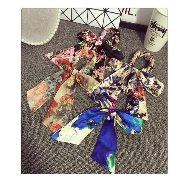 sofi shop 韓國復古綢緞碎花蝴蝶髮帶髮箍髮束瀏海夾髮夾髮圈髮飾滿500 免郵FB