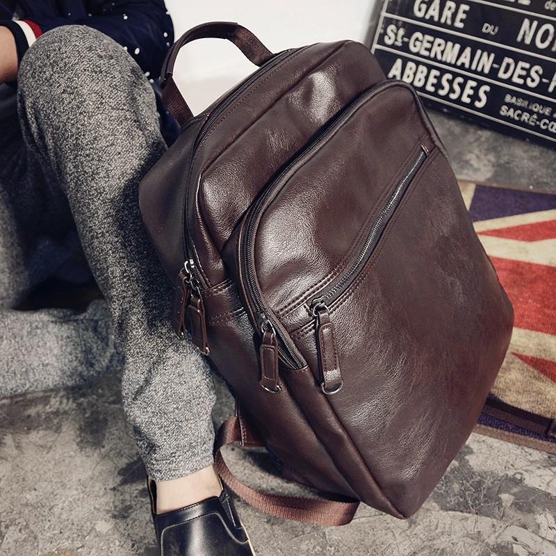 簡潔雙肩包男士背包 學生書包潮流男包 休閒旅行包皮電腦包