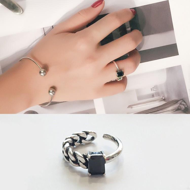 爆款三件起拍可混拍 價包郵韓國 S925 純銀復古做舊鏈條方瑪瑙開口戒指