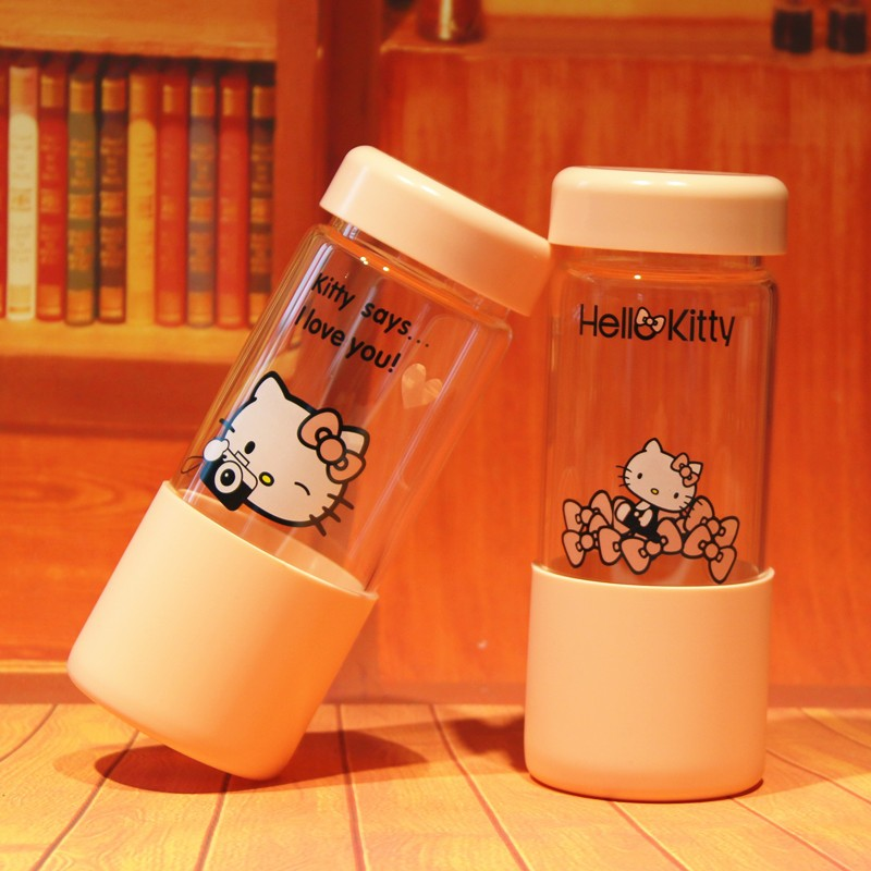 阿柑Hello Kitty 凱蒂貓KT 可愛卡通水杯隨手杯隨身瓶水壺帶蓋加厚玻璃杯花茶杯果