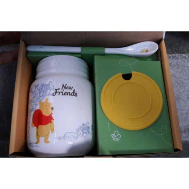 歡樂維尼三件式杯組440ml 陶瓷杯身防塵軟蓋 維尼一組 中