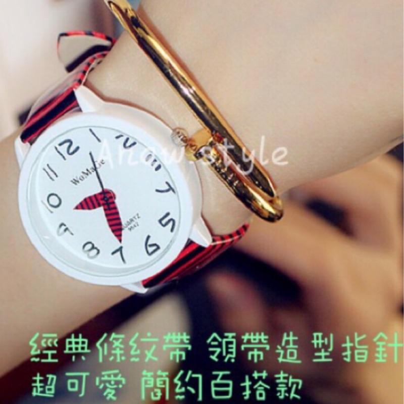 ~安妞style ~ 錶 ㊒潮流手錶 條紋趣味領帶針數字簡約錶~姐妹款閨蜜款情侶對錶