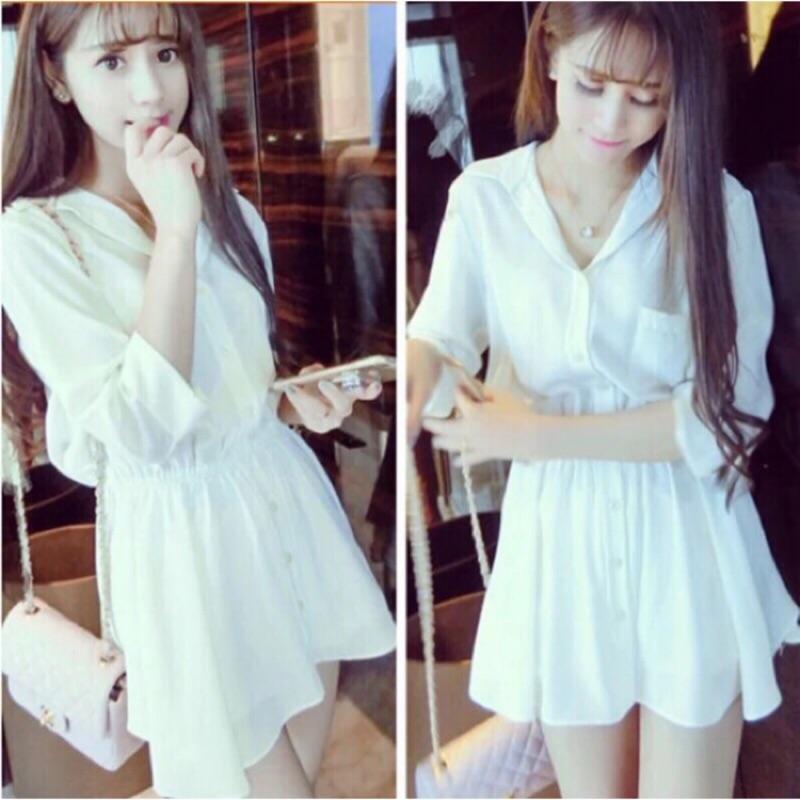 小熊日系 氣質洋裝甜美連衣裙簡約百搭翻領排扣收腰襯衫