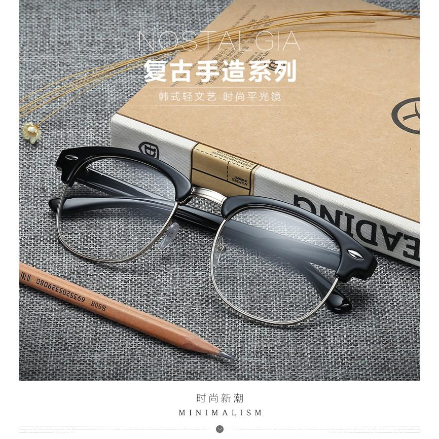 復古眼鏡框女圓形平光鏡半框眼鏡架男款眼睛超輕配近視眼鏡潮