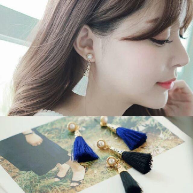 潘朵拉衣閣72296 誇張耳環優雅珍珠氣質流蘇百搭 飾品耳飾耳釘