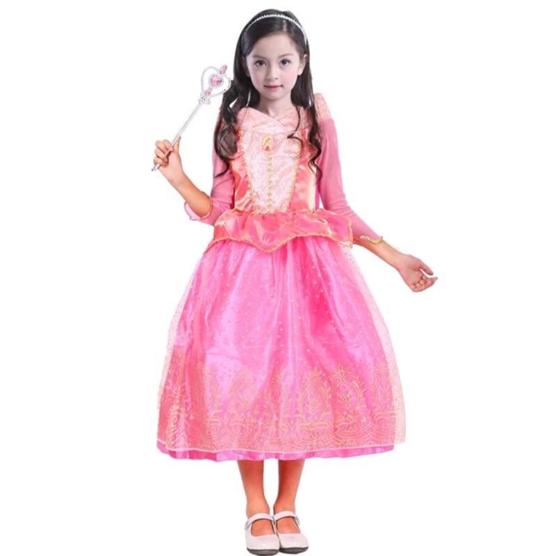 萬聖節兒童服裝睡美人女 粉色公主禮服演出服節日禮服生日派對聖誕 表演服還有冰雪奇緣