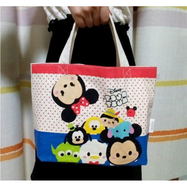京品小舖迪士尼TSUM可愛在一起米奇與米妮藍色紅色手提包便當包NO A0868 NO A0