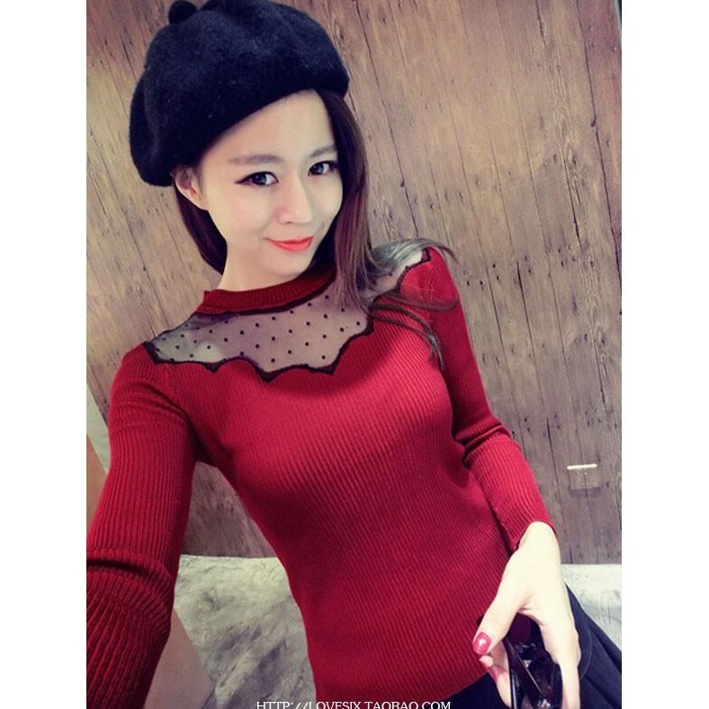 佳人~針織 波點蕾絲拼接顯瘦長袖針織上衣Y11352