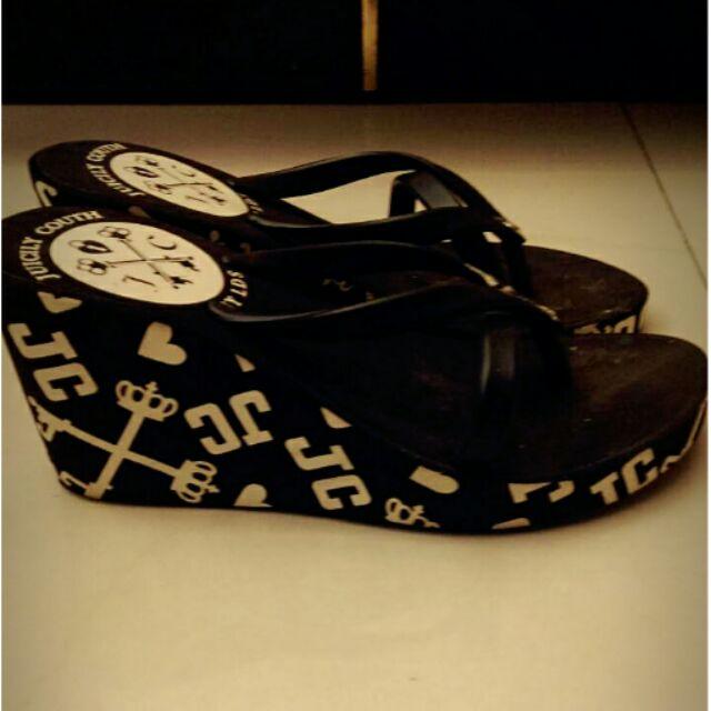 黑色交叉厚底拖鞋