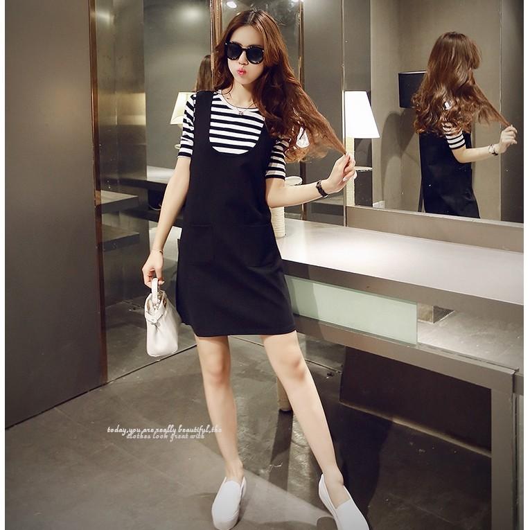 雅粧小舖套裝純綿白條紋上衣吊帶裙歐洲站黑色顯瘦背帶裙兩件套連衣裙