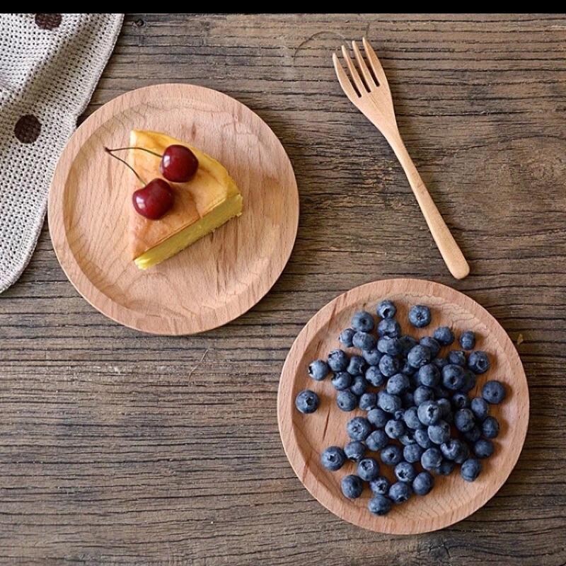 野餐趣木質圓形點心盤早餐圓盤托盤水果盤零食碟蛋糕碟野餐盤