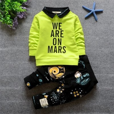 ღ瑪琪朵小舖ღ2016  寶寶0 1 2 3 歲翻領字母外太空星球長褲套裝