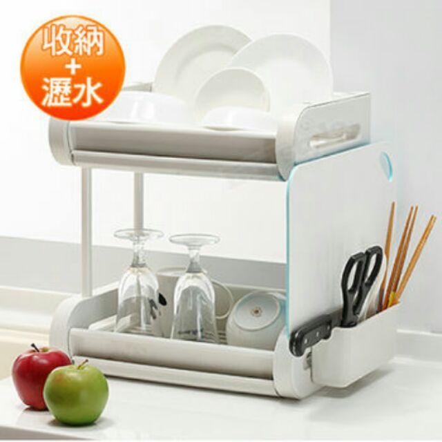 ~大尺寸贈筷架盒~二層式碗盤收納瀝水架含筷架