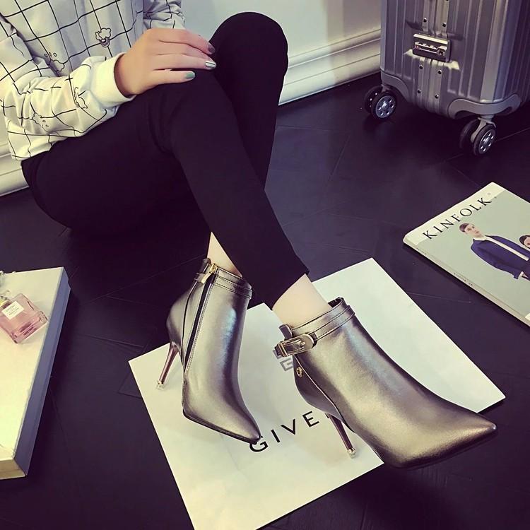 ~本小姐任性~ 潮 高跟短靴尖頭細跟女靴馬丁靴防水臺及踝靴女鞋冬靴
