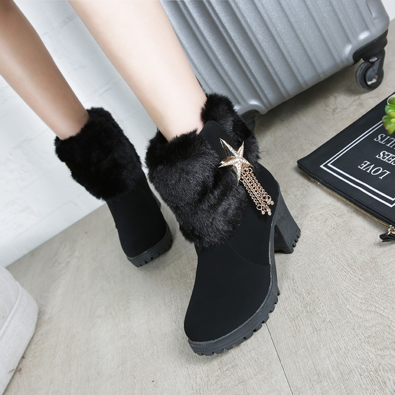 ~日韓の鋪~ 水鉆側拉鏈防水臺粗高跟女靴圓頭厚底女鞋帶毛加絨短靴潮