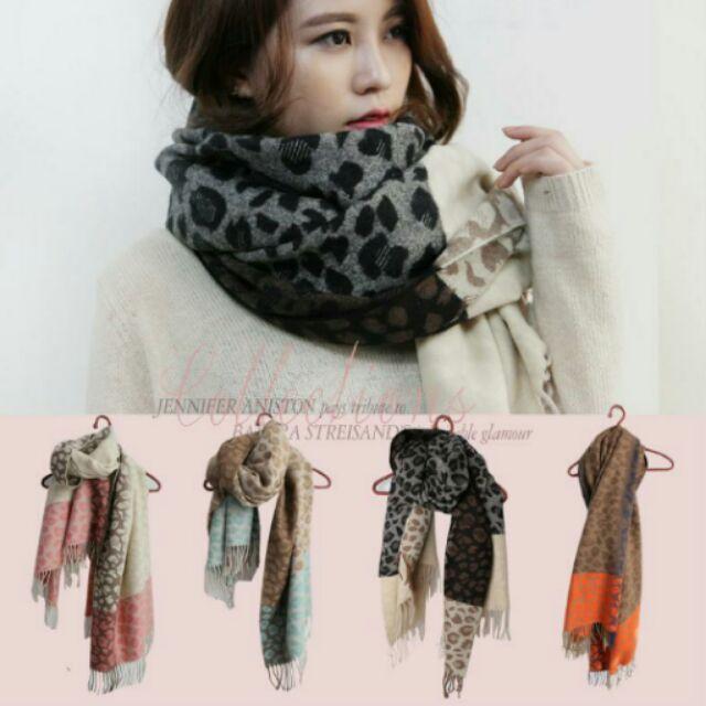 韓國製高 厚織柔軟撞色豹紋款披肩圍巾高 韓國同步 登場n 粉色,藍色,黑色,橘色共4 色