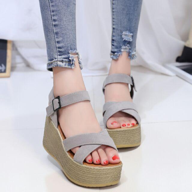 涼鞋女夏 坡跟高跟鞋2016 百搭厚底女士鞋子韓國休閒女鞋夏
