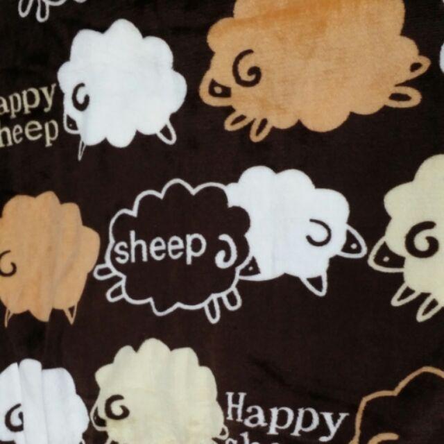 ~柑丫店~咖啡羊法蘭絨毛毯空調毯膝毯140 ×200cm 保暖透氣嬰兒毯床單沙發墊膝毯