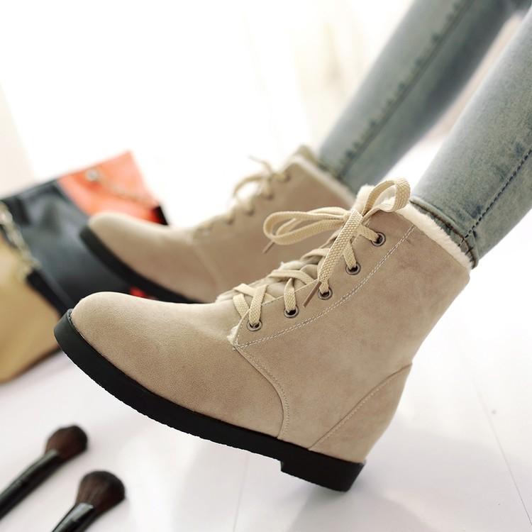 香舍麗榭內增高短靴女春秋 圓頭平跟馬丁靴前系帶防水臺及裸靴冬靴女靴