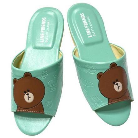 LINE 室內拖鞋Cony 兔兔室內皮質拖鞋~Brown 熊大饅頭人室內皮拖鞋大人尺寸情侶