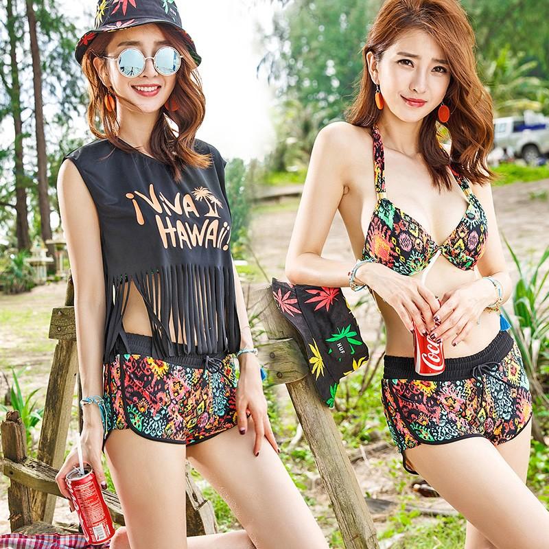 4 件組整套比基尼游泳衣女套裝分體平角褲海灘褲T 恤小胸鋼托聚攏性感韓國泳裝水上樂園沙灘
