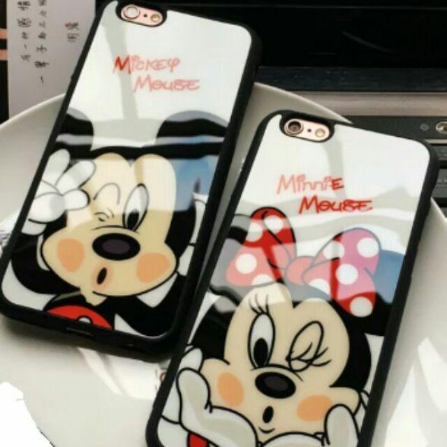 ↪ ↩蘋果iPhone6s 可愛貼玻璃卡通米奇米妮軟矽膠手機殼手機套保護殼軟殼送禮自用女朋