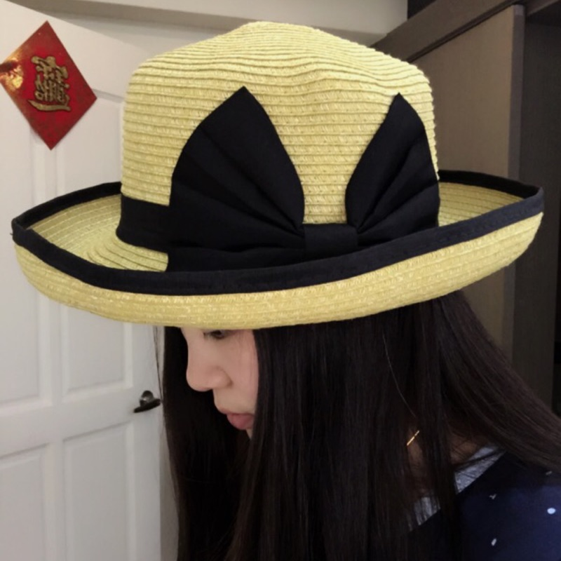 瀅瀅小舖QF032 翻邊圓頂禮服帽夏天蝴蝶結草帽防曬帽沙灘帽太陽帽遮陽帽