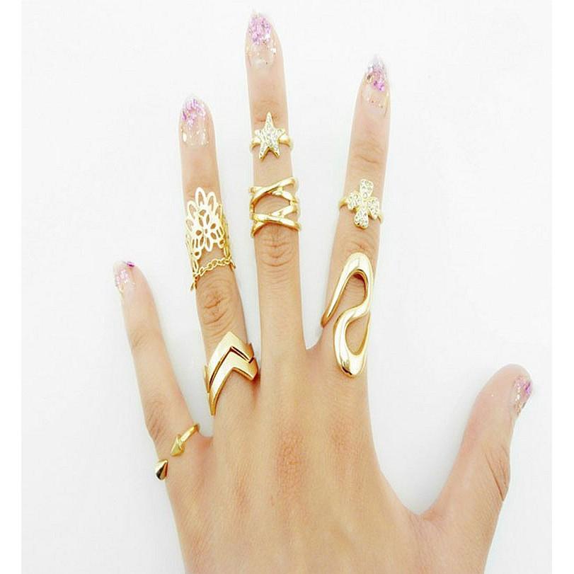 日韓 館韓國新品明星同款韓系飾品金色銀色簡約開口七件套裝戒指 指環 飾品 風尾戒潮女戒可調