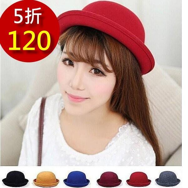 ~B S SHOP ~韓系爵士英倫風復古小禮帽帽子圓頂帽爵士帽小圓帽毛呢毛帽紳士帽