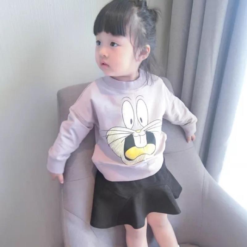 女童男童兒童寶寶小童卡通圖案兔子萌兔加厚加絨長袖圓領T 恤上衣衛衣