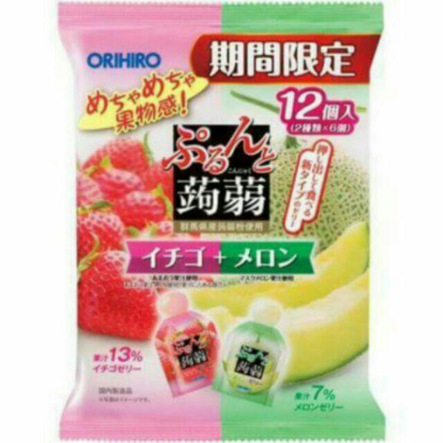 orihiro 不沾手易撕擠壓式蒟蒻草莓哈密瓜口味