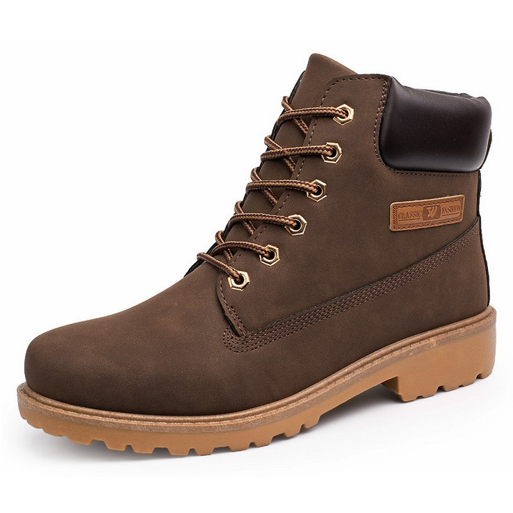 G 3 馬丁靴男工裝棉靴戶外男士靴子高幫男鞋大碼軍靴棕色帶側標