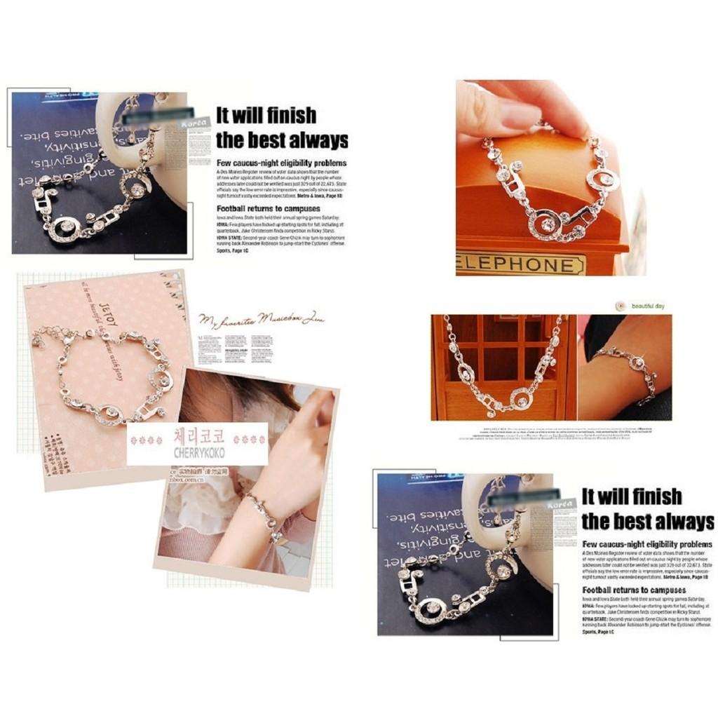新品 價韓國原單 百搭超 氣質款音符 鑲滿鑽 手鏈