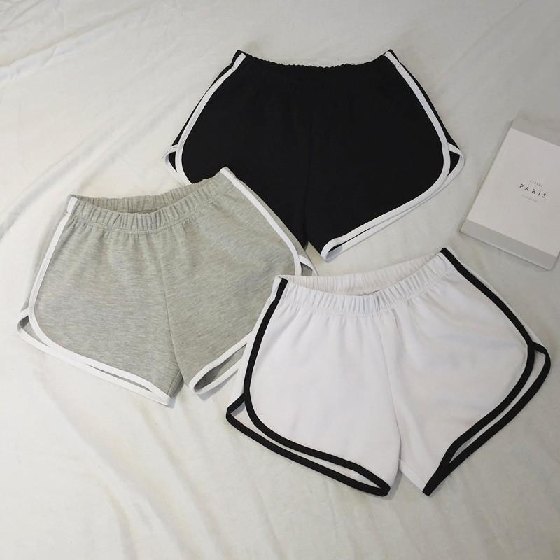 純色 短褲女 跑步學生高腰熱褲顯瘦休閒包邊闊腿休閒短褲潮
