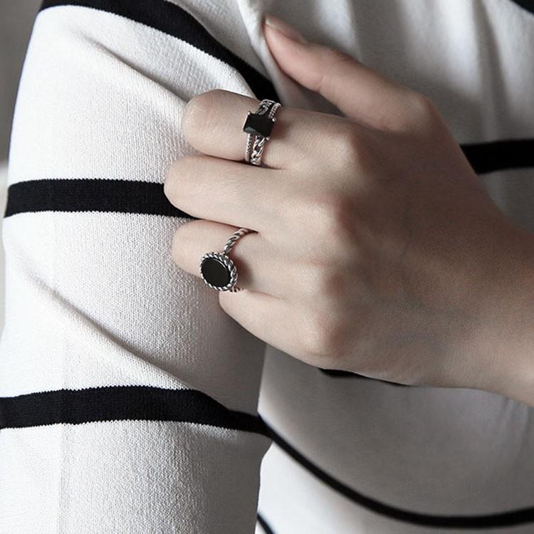 三件起拍可混拍 價包郵 韓國風純銀S925  黑白松石編織扭紋開口戒指指環