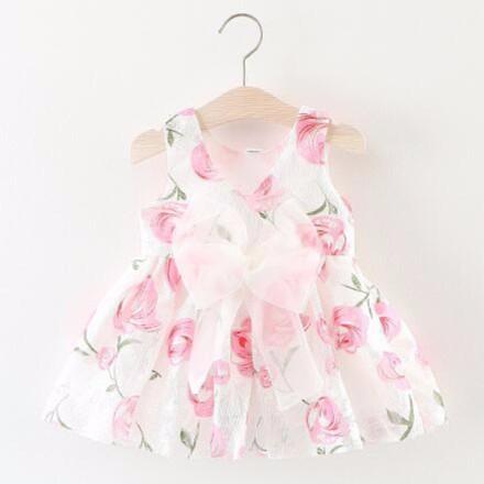 2017 女童 網紗蝴蝶結香檳玫瑰連衣裙6 個月3 歲