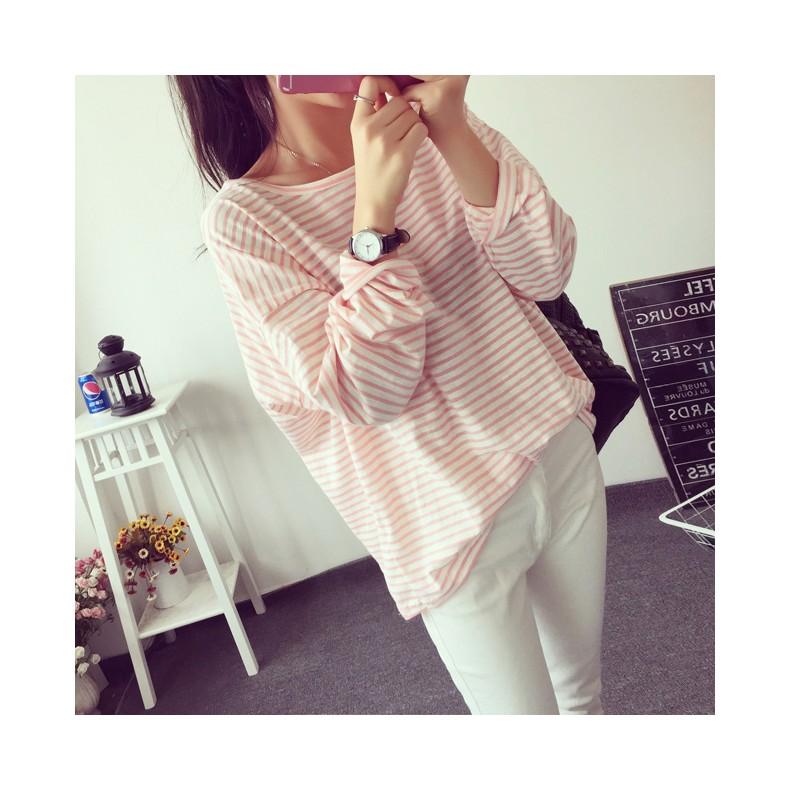 Ying Fashion ☘️ 寬鬆圓領條紋休閒簡單長袖T 恤☘