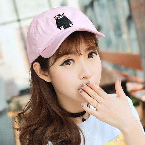 韓國 可愛小熊黑熊萌熊刺繡棉質彎沿棒球帽鴨舌帽老帽彎帽高爾夫球帽子K639