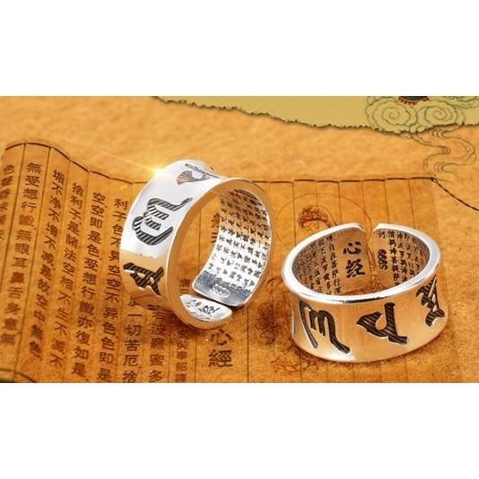 925 純銀箴言心經戒指銀飾 女款開口銀鐲子送母親父親心經另售手鐲超精緻寬版 母親節